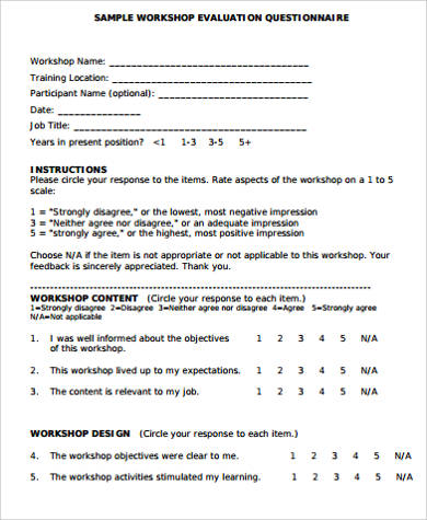 workshop evaluation form questionnaire in pdf