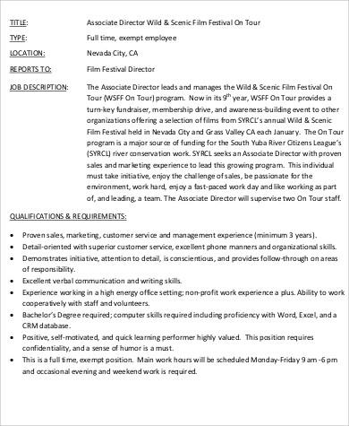 film associate director job description