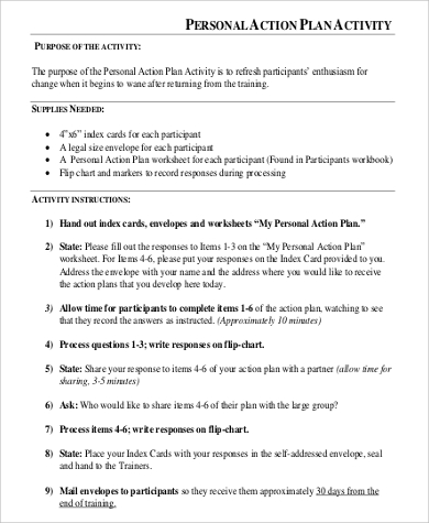 personal action plan activity