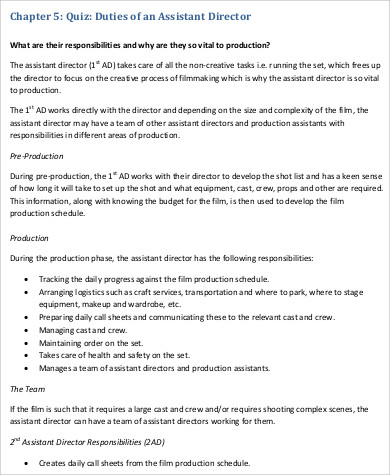 Film Director Job Description Sample   Examples In Pdf
