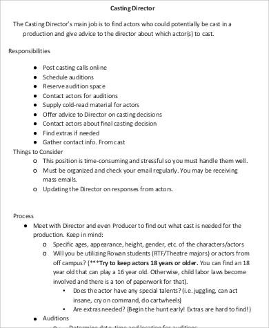 film casting director job description