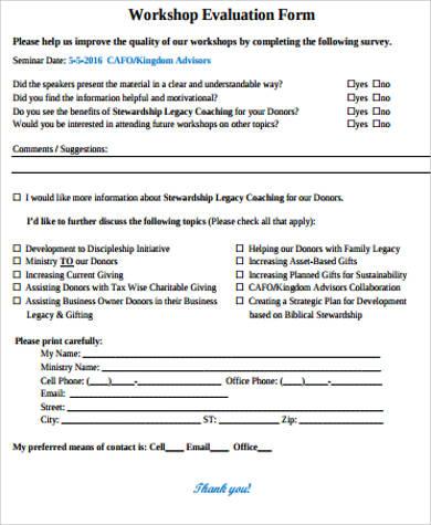 business workshop evaluation form