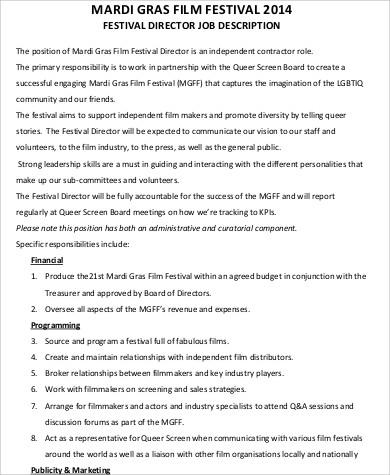 film festival director job description format