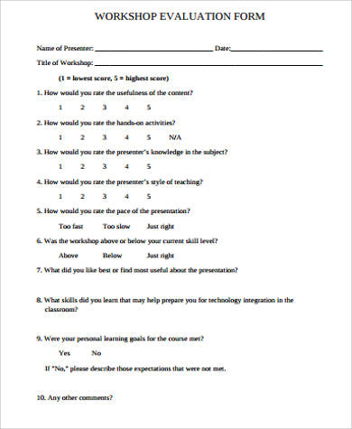 Sample Workshop Evaluation Forms to Download