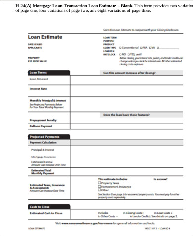 Sample Loan Estimate Form   Examples In Pdf