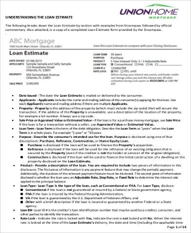 loan estimate form sample