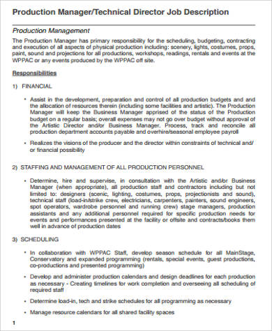 5 production director job description samples sample for Events manager job description template