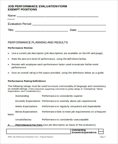 Sample Performance Evaluation Form  Free Sample Example