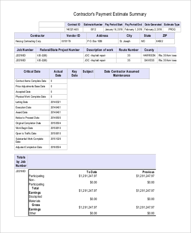 contractors payment estimate summary in pdf