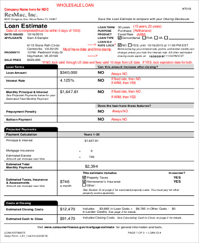 loan estimate form example