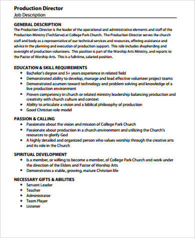Production Director Job Description Sample   Examples In Pdf