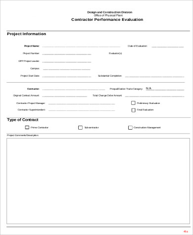 contractor performance evaluation form1
