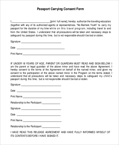 Passport Consent Form Sample - 5+ Examples In Pdf
