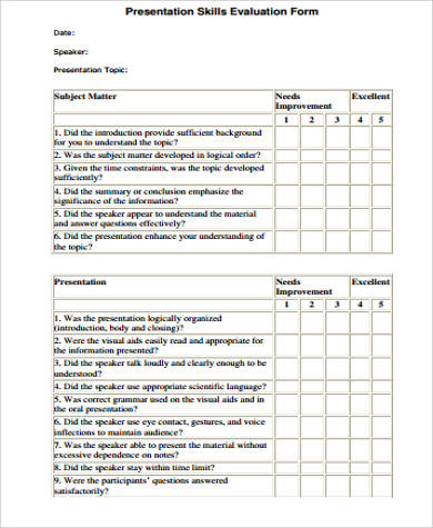 presentation skills evaluation form