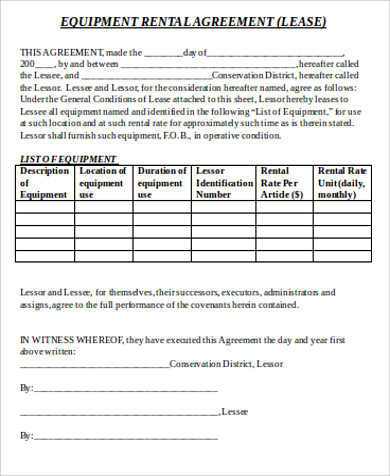 9 sample equipment lease agreements sample templates for Equipment hire form template