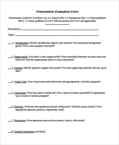 sample presentation evaluation form in pdf