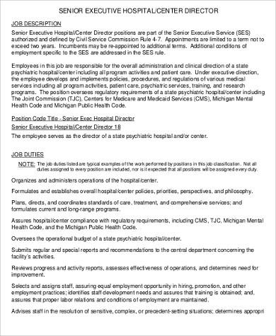 senior center director job description in pdf service director job description