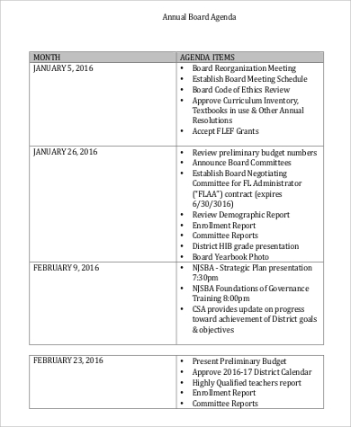 annual board agenda