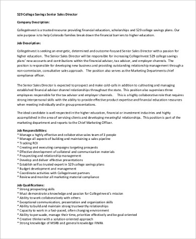Director Job Description Sample   Examples In Pdf