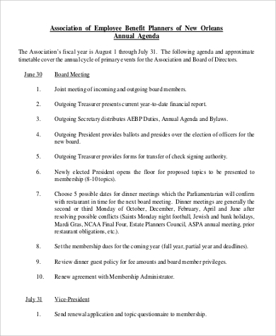 Annual Agenda Sample   Examples In Pdf
