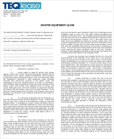 Master Equipment Lease Agreement Format