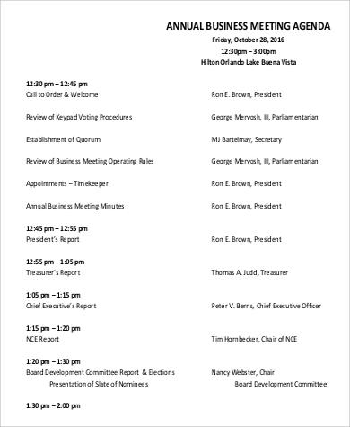 annual business meeting agenda