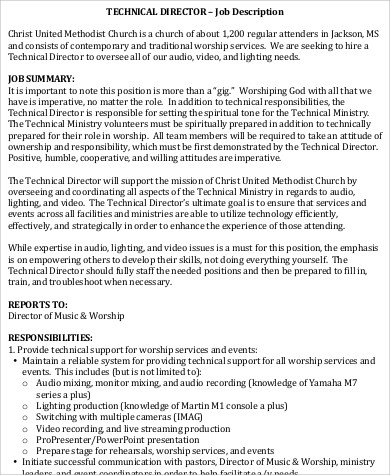 church technical director job description