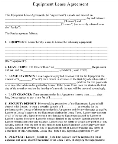 Sample Equipment Lease Agreement Examples In Word Pdf