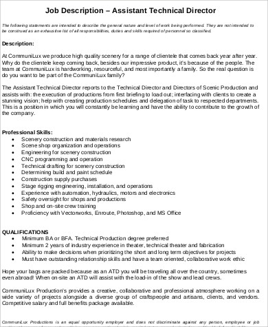 assistant technical director job description
