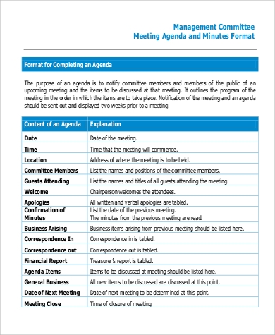 meeting minutes agenda format in pdf