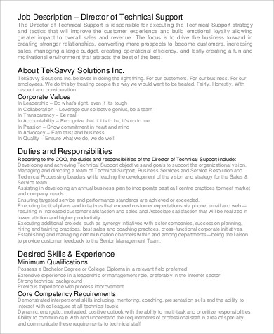 Technical Support Team Lead Job Description Image Gallery  Hcpr