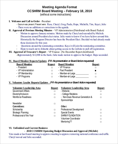Meeting Agenda Format Sample - 9+ Examples In Pdf