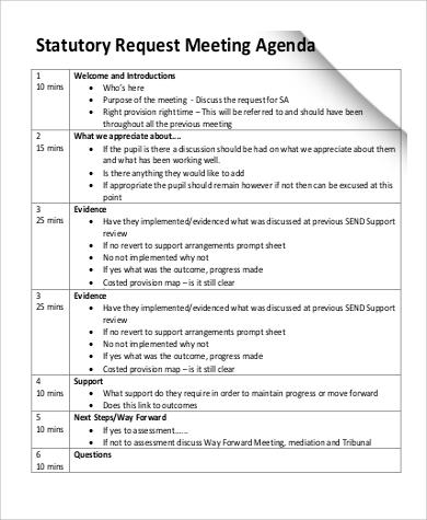 statutory meeting request agenda format