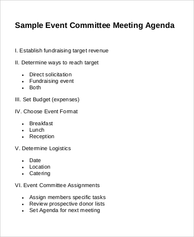 Meeting Agenda Format Sample   Examples In Pdf
