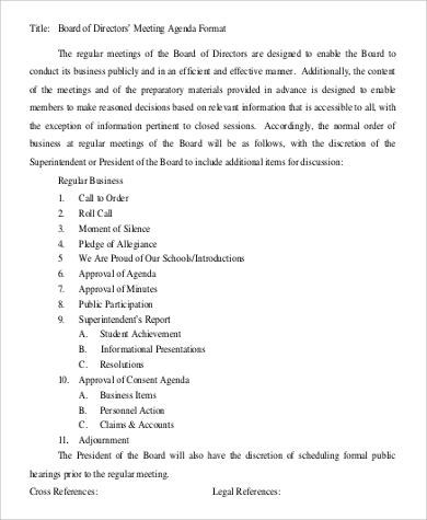 board of directors meeting agenda format