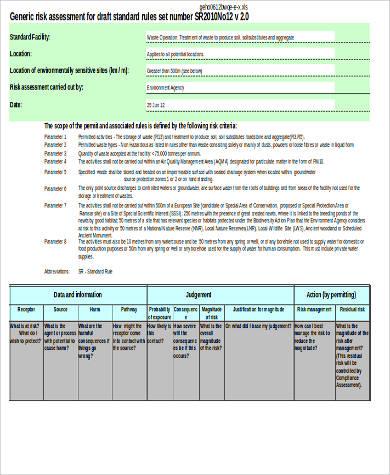 generic risk assessment in excel sample