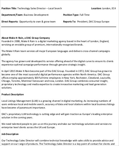 Technical Director Job Description Sample   Examples In Word Pdf