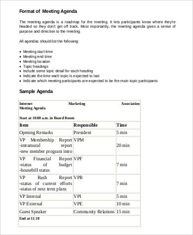 professional meeting agenda format