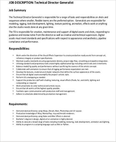 animation technical director job description