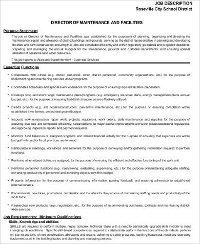 facility maintenance director job description example