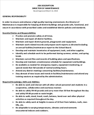 Maintenance Director Job Description. Electrical Foreman Job