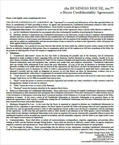 business purchase confidentiality agreement
