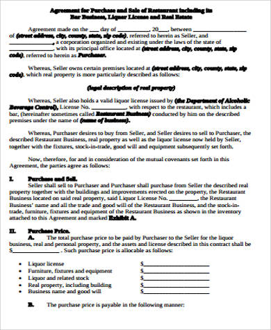 Business Purchase Agreement Sample   Free Sample Example