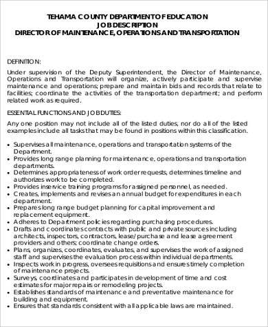 Maintenance Director Job Description Electrical Foreman Job