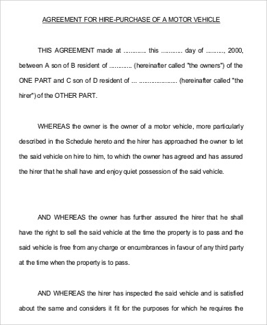 vehicle hire purchase agreement format