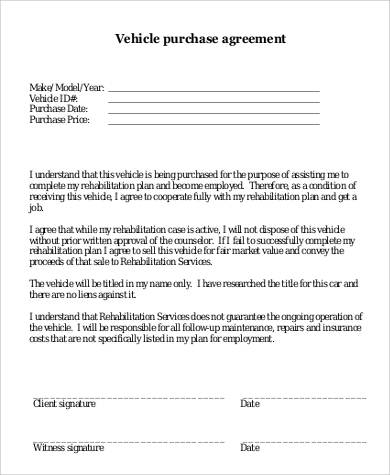 vehicle purchase agreement printable