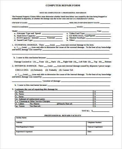Sample Repair Estimate Form   Examples In Word Pdf