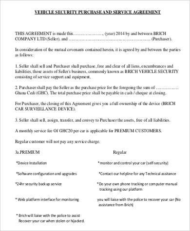 vehicle security purchase and service agreement