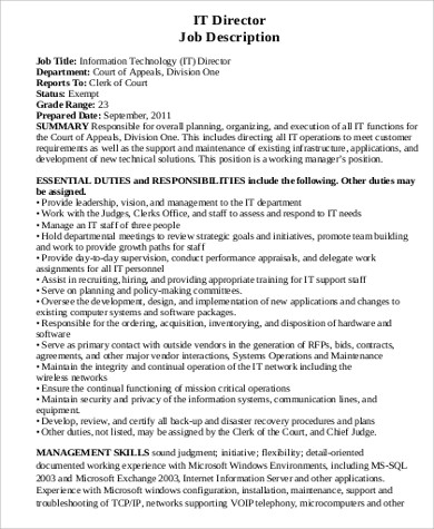 It Director Job Description Sample   Examples In Word Pdf