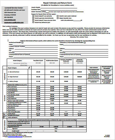 repair estimate and return form1